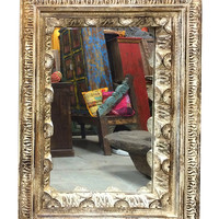 Antique Carved Wood Frame with Mirror Indian Architectural