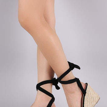 Suede Peep Toe Lace Up Espadrille Platform Wedge | UrbanOG