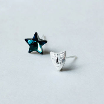 Constellation earring- ocean blue Swarovski Crystal star stud earring-tiny sterling sliver mask stud earring