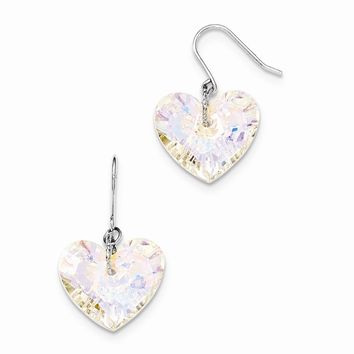 Sterling Silver Swarovski Elements Heart Shepherd Hook Earrings