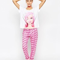 ASOS Winking Barbie Tee and Long Leg Pyjama Set