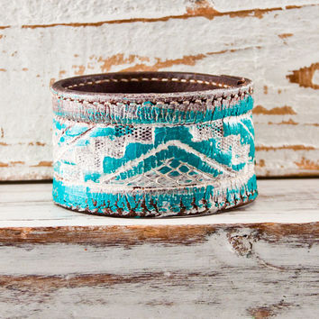 Turquoise Jewelry / Valentines Day Geometric Jewelry Cuff / Native - Tribal - Southwest - Wristband - Bracelet - New Years Eve 2014 On Sale