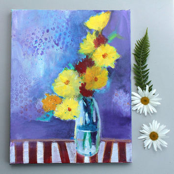 "Still Life Painting Abstract Floral on Canvas ""Yellow Flowers in Purple Room"""