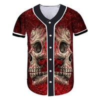 Mens Buttons Shirts Print Metal Skull Custom Made Baseball Jersey