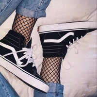 Vans Fashion Casual Classic SK8-Hi Black High-Top Sneaker Black G