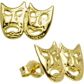 14kt Yellow Gold Drama Theatre Mask Stud Earrings