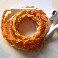 MyBuds Wrapped Tangle-Free Earbuds for iPhone   Orange and Yellow Sunshiny Day   with Microphone and Volume Control