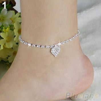 Hot Multi-pattern Love Heart Star Wedding Sandal Beach Anklet Chain Foot Jewelry BW2C (Color: Silver) = 1932748356