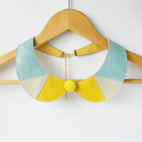 Lemon Yellow and Mint Collar Bib Necklace Peter Pan Detachable Collar - Leather Bib Necklace Art Deco