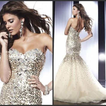 Luxury 2015 Full Bead Mermaid Evening Formal Dress Party Prom Celebrity Gown New