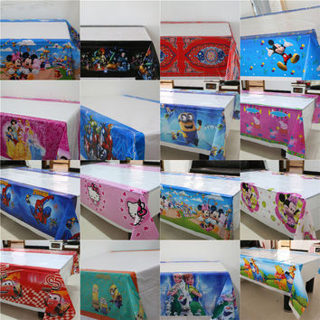 disposable plastic tablecover 108*180cm tablecloth/map 1pcs cartoon theme party  for kids happy birthday party tableware