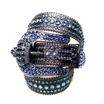 "B.B Simon ""Blue Black Crown"" Fully Loaded Swarovski Crystal Belt"