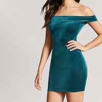 Metallic Velvet Off-the-Shoulder Dress