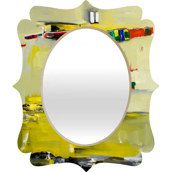 Robin Faye Gates Abstract Yellow Quatrefoil Mirror