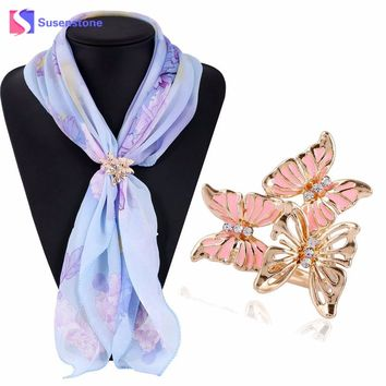 2017 Fashion Brooches Crystal Lady Jewelry Rhinestone Brooches Tricyclic Three Butterfly Scarf Buckle Brooch New Year Gifts Hot
