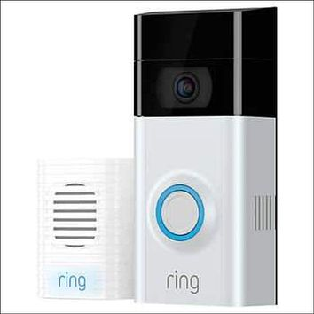 RING Video Doorbell 2 w/ Bonus Chime and 1 Year Ring Video Cloud Recording
