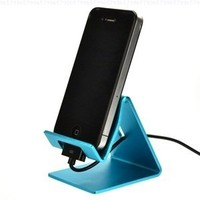 Case Star Aqua Blue Aluminum Desktop Stand for iPhone 3 3GS 4 4S iPod touch Apple iPad 4 iPad 3 iPad 2 2nd Generation Wifi / 3G Model 16GB, 32GB, 64GB + Case Star Cellphone Bag