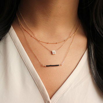Layering Necklace, Initial Necklace, Layered necklace, Infinity Necklace,Satellite Chain, Layering jewelry, Necklace Set
