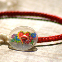 Red Heart Shrinky Dink Button Friendship Bracelet