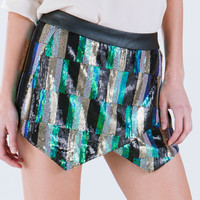 Seeking Sequins Bar Pattern Skort