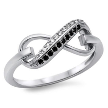 Sterling Silver Pave Set Black and Clear Round Cut CZ Infinity Ring size 4-10
