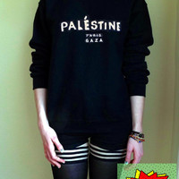 Palestine Paris Gaza Jumper Unisex Black or Grey S M L Tumblr Instagram Blogger