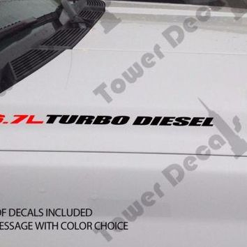 6.7L TURBO DIESEL Hood vinyl sticker decals fits: RAM DODGE CUMMINS