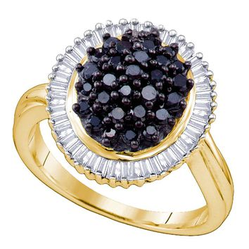 Sterling Silver Womens Round Black Color Enhanced Diamond Cluster Oval Ring 1.00 Cttw
