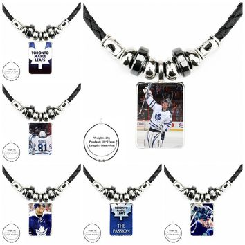 For Women Party Phil Kessel Nhl Toronto Maple Leafs Fashion Necklaces Glass Cabochon Black Leather Bead Pendant Necklace Vintage