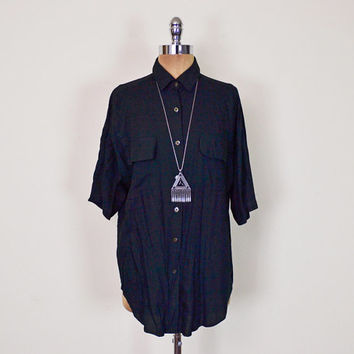 Vintage 80s 90s Black Oversize Shirt Blouse Top Slouchy Shirt Short Sleeve Button Up Shirt Rayon 90s Shirt 90s Grunge Shirt Women S M L