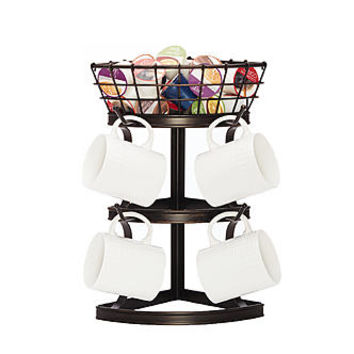 Gourmet Basics By Mikasa Cubby corner mug tree with basket