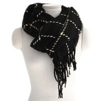 Checks Scarf Tassel Tippet Neckerchief   black