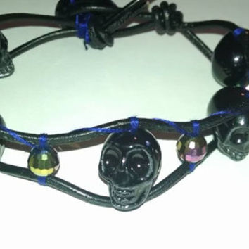 Single Leather Wrap Bracelet 11 Inch with Large Black Glass Skull Beads and Iridescent Accent Beads Gothic Halloween Man or Woman