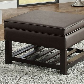 Poundex F6803 Melissa collection brown faux leather upholstered square storage ottoman