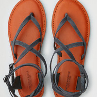 AEO Suede Ankle Wrap Thong Sandal, Dark Gray