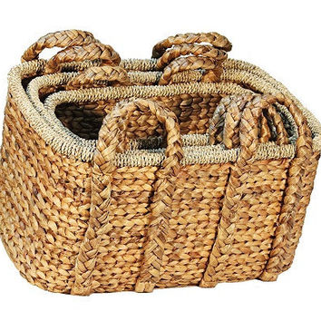 Woven Water Hyacinth Basket, Set of 3