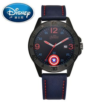 Disney Kids Watch Marvel Super Hero Fashion Simple Cool Wristwatches Boys Mickey Mouse Gift Waterproof for Men Leather