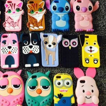 AIPUWEI Owl dog cat pig For Apple iphone 5 5S Case 3D Cute Cartoon Soft Silicone Back Cover For iphone SE 5S Phone case Coque