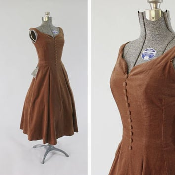 Vintage 1950s Brown Corduroy Dress -  Size XS Small Sweetheart Neckline Fashion Clothing / Deer Pocket Square