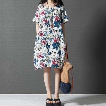 Vintage Women Loose Cotton Dress Ethnic Floral Print Pockets Short Sleeve Casual Midi Long Dress White