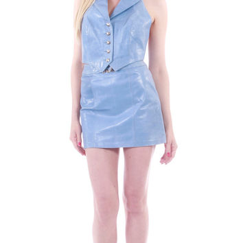 90's Vintage Michael Hoban Leather Halter Top and Mini Skirt Cropped High Waist Periwinkle Blue Sexy Glam Rare 2 Piece Outfit Size Small