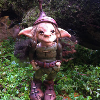 OOAK elf sculpture polymer clay art doll garden troll