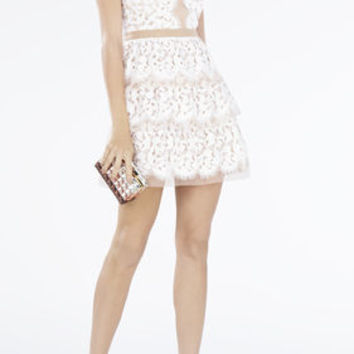 Sophea Sleeveless Tiered-Skirt Lace Dress - White