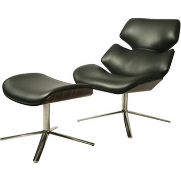 Pastel Jedzebel Lounge Chair Chair w/ Ottoman - Stainless Steel - Top Grain Black Leather