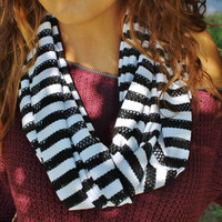 White Jersey Knit Infinity Scarf with Black Outlet Lace Striped Accents, Women's Loop Neck Warmer