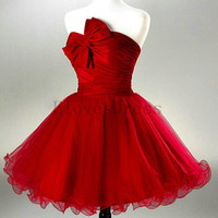 red short Mini tulle cocktail prom dress , bow strapless sweetheart homecoming dress,wedding party evening ball dress,E-5403