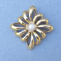 Vintage 1980's Signed MONET Open Work Faux Pearl Pin