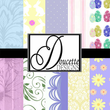 Instant Download-Easter Pastel Colors Bunny Damask Flourish Digital Scrapbooking Paper Pack Personal and Commercial Use