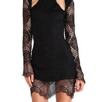 Black Mini Dress with Crochet Lace Detail