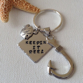 Fisherman keyring, keepin it reel, fish lovers, fishing addicts, fish hook keyring, gifts for dad, fathers day, gifts for him, fishhook